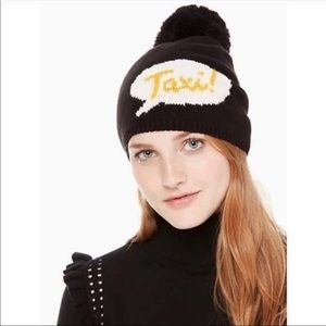 Kate Spade New Rib Knit Pom Beanie Taxi Black